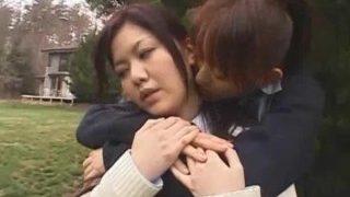 Asian schoolgirls enjoying each other
