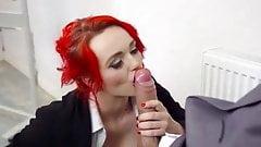 Redhead Jasmine James sucks monster cock & gets facialized