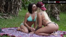 Busty Lesbian Pornstars Playing With Bananas and with Eachothers Pussy