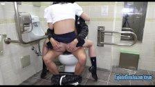 Jav Schoolgirl Imari Fucks Uncensored In Public Toilet Shaved Pussy