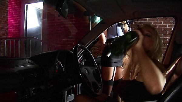 Hot Blond Lesbo Cop Licking Female Driver's Pussy & Fucks her Ass with a Police Baton
