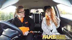 Fake Driving School Creampie in nerdy ginger teen hairy muff