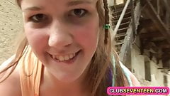 Lovely teenage farm girl fucking outdoors
