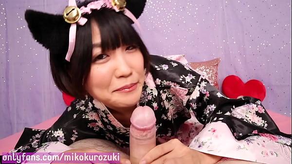 Japanese Neko Girl Miko Kurozuki Drinks her Master's Milk after Sloppy Blowjob (Trailer)